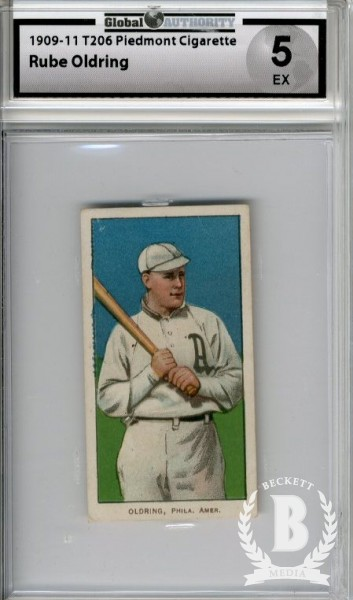 1909-11 T206 #366 Rube Oldring Batting