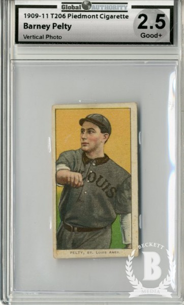 1909-11 T206 #384 Barney Pelty Vertical