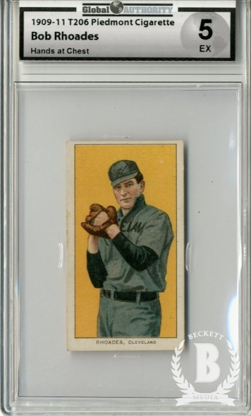 1909-11 T206 #409 Bob Rhoades Hands at Chest