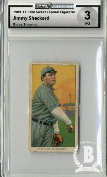 1909-11 T206 #443 Jimmy Sheckard Glove Showing