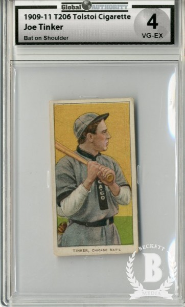 1909-11 T206 #488 Joe Tinker Bat on Shoulder