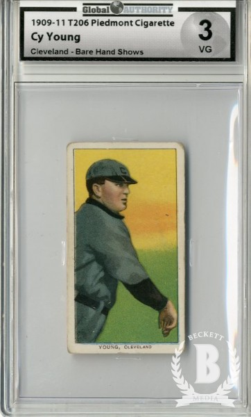 1909-11 T206 #523 Cy Young Bare Hand Shows