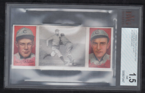 1912 Hassan Triple Folders T202 #17 Chance Beats Out a Hit/Harry McIntire/Jimmy Archer