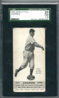 1932 Zeenut #75 Walter Shores front image