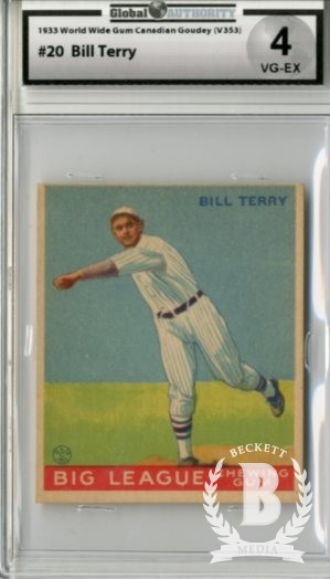 1933 World Wide Gum V353 #20 Bill Terry