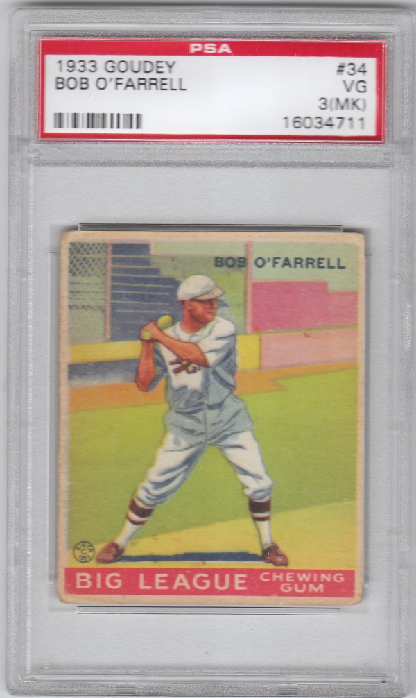 1933 Goudey #34 Bob O'Farrell RC