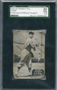 1933-36 Zeenut PCL #6 Vance Page front image