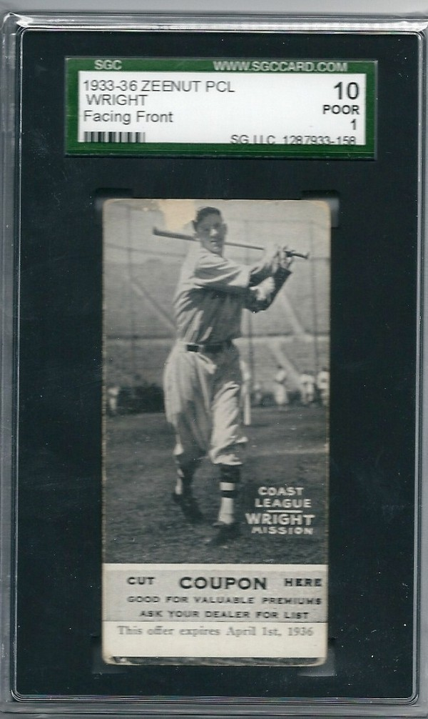 1933-36 Zeenut PCL #50 Albert Wright