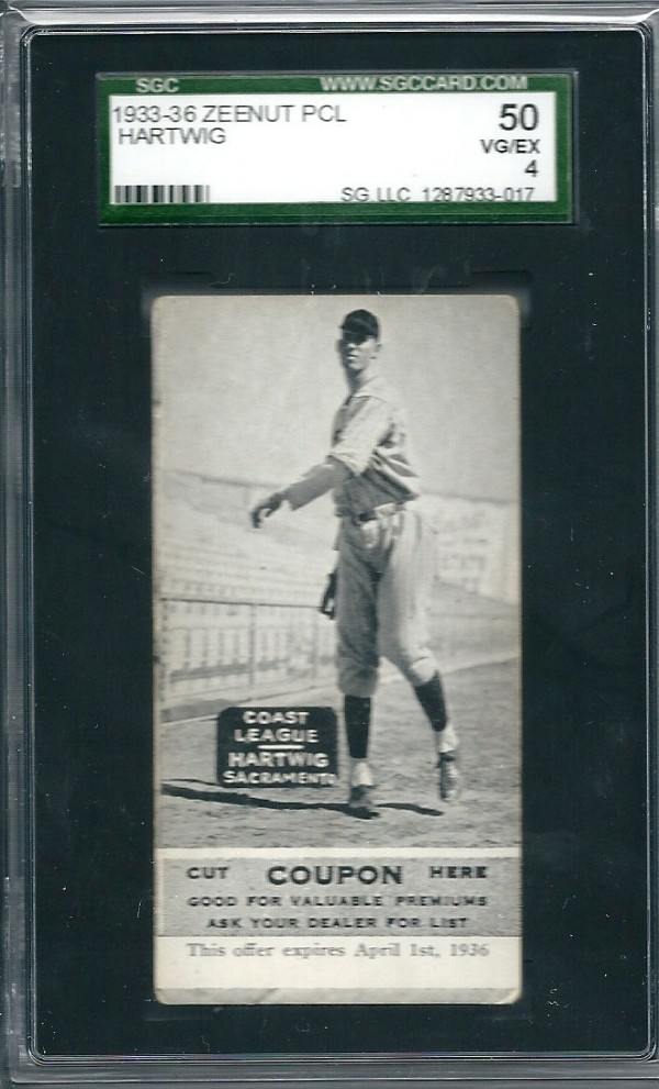 1933-36 Zeenut PCL #88 William Hartwig/Willam Hartwig