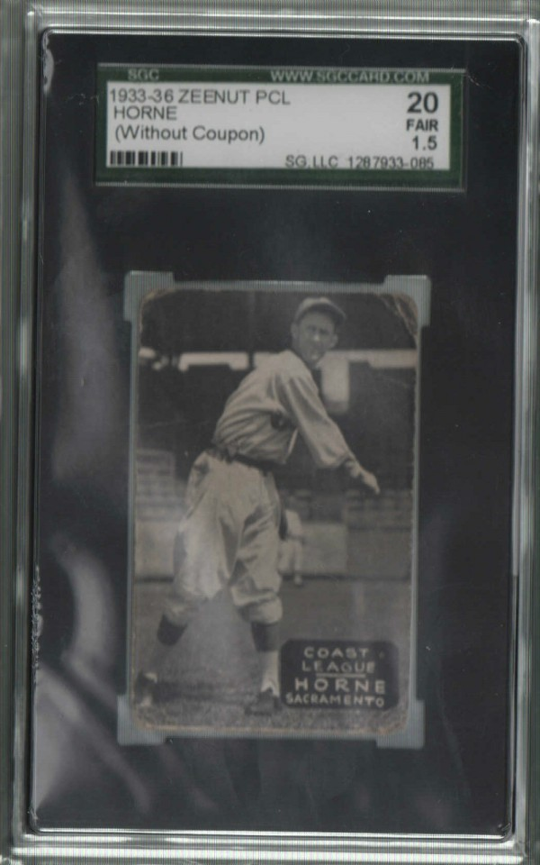 1933-36 Zeenut PCL #89 Berlyn Horne