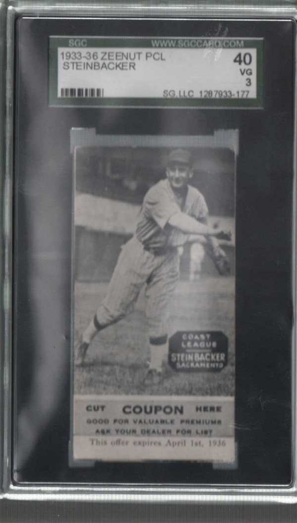 1933-36 Zeenut PCL #95 Henry Steinbacker/Henry Steinbacker