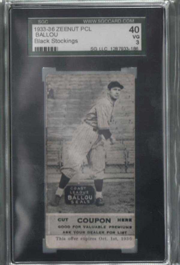 1933-36 Zeenut PCL #100 William Ballou
