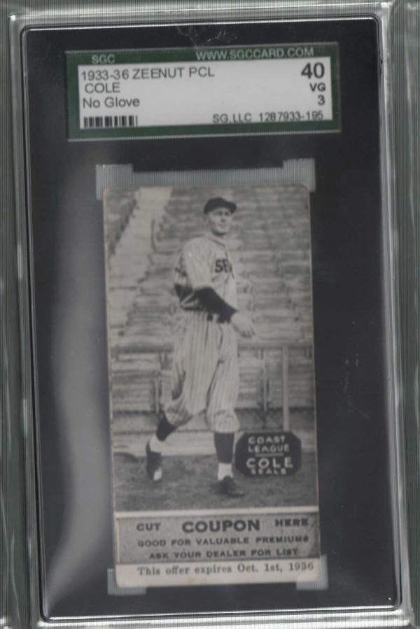 1933-36 Zeenut PCL #106 Albert Cole