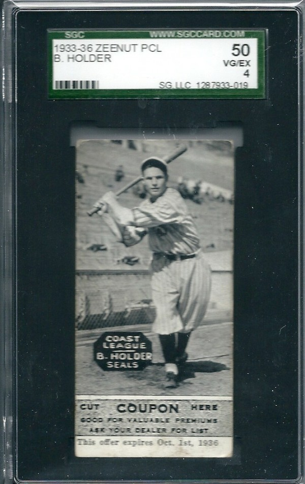 1933-36 Zeenut PCL #123 Brooks Holder