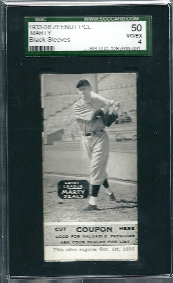 1933-36 Zeenut PCL #129 Joseph Marty/White Sleeves