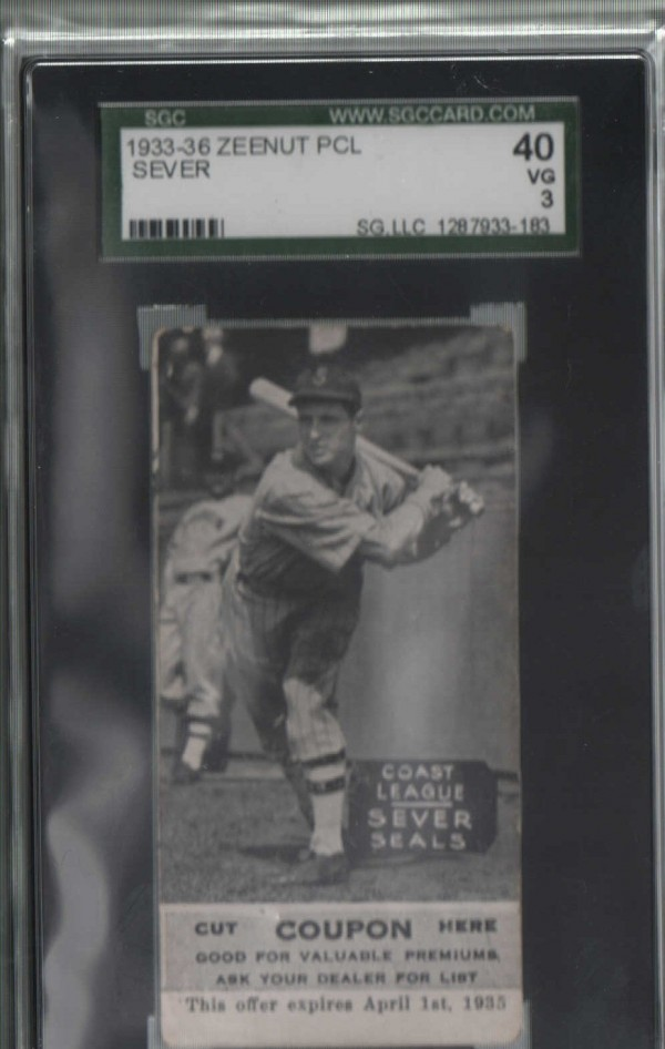 1933-36 Zeenut PCL #142 Carl Sever