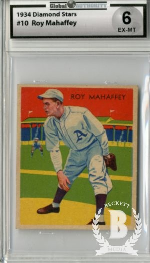 1934-36 Diamond Stars #10A Leroy Mahaffey/34G, 35G/A's on uniform
