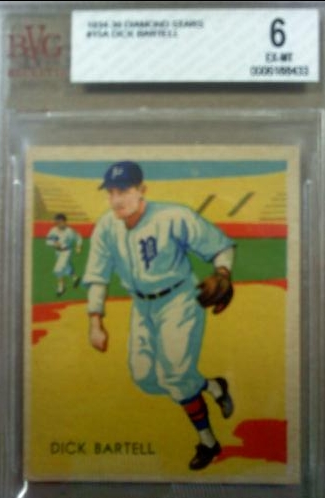 1934-36 Diamond Stars #15B Dick Bartell 35G/New York Giants/on card back