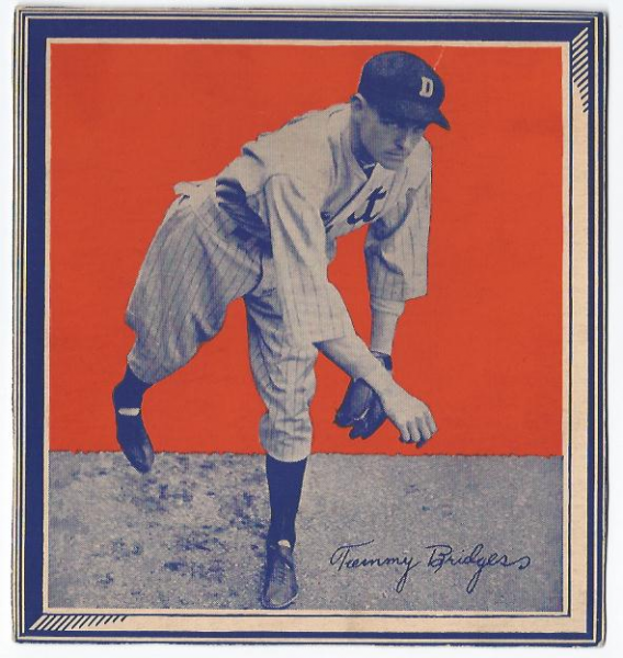 1935 Wheaties BB1 #4 Tommy Bridges/(pitching)