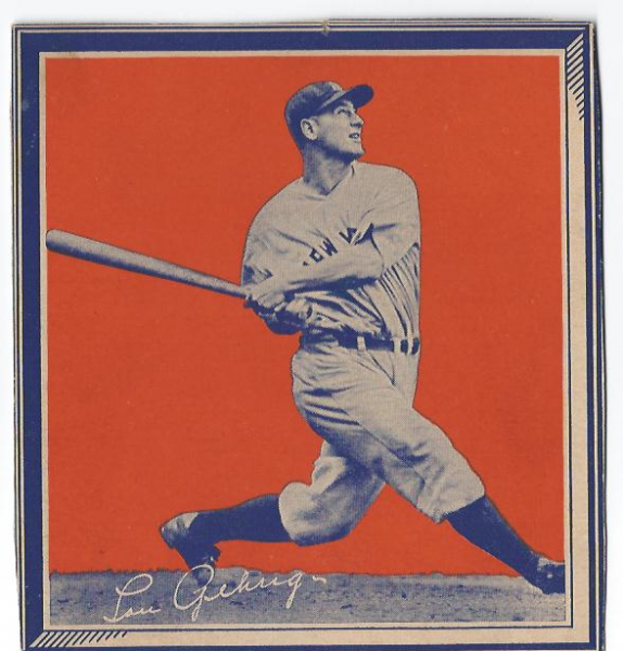 1935 Wheaties BB1 #13 Lou Gehrig/(batting follow/through)