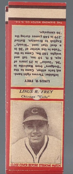 1935-36 Diamond Match Co. Series 3 Type 1 #54 Linus Frey