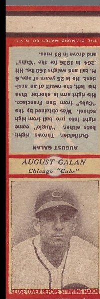 1935-36 Diamond Match Co. Series 3 Type 1 #56 Augie Galan