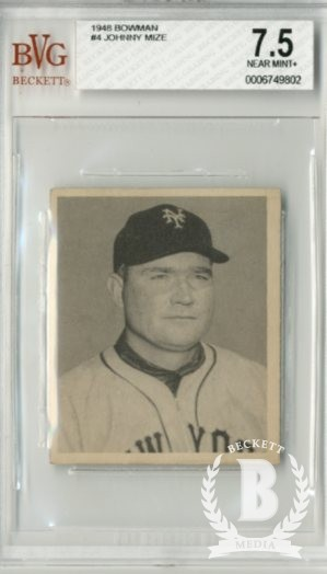 1948 Bowman #4 Johnny Mize RC