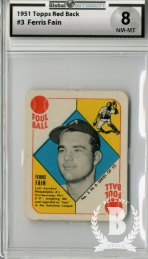 1951 Topps Red Backs #3 Ferris Fain
