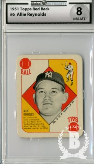 1951 Topps Red Backs #6 Allie Reynolds