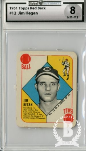 1951 Topps Red Backs #12 Jim Hegan