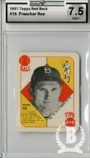 1951 Topps Red Backs #16 Preacher Roe