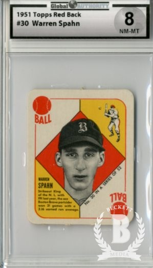1951 Topps Red Backs #30 Warren Spahn