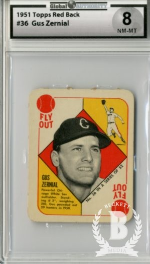 1951 Topps Red Backs #36A Gus Zernial Chic
