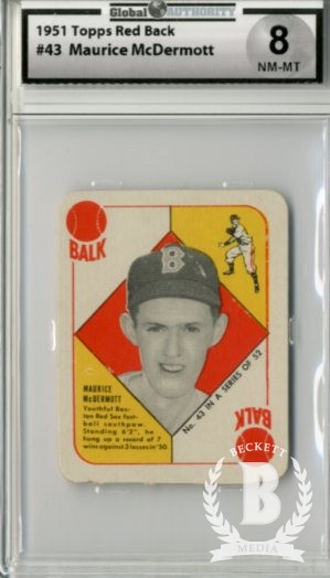 1951 Topps Red Backs #43 Maurice McDermott