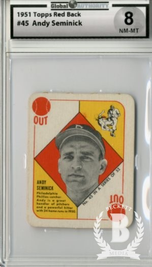 1951 Topps Red Backs #45 Andy Seminick