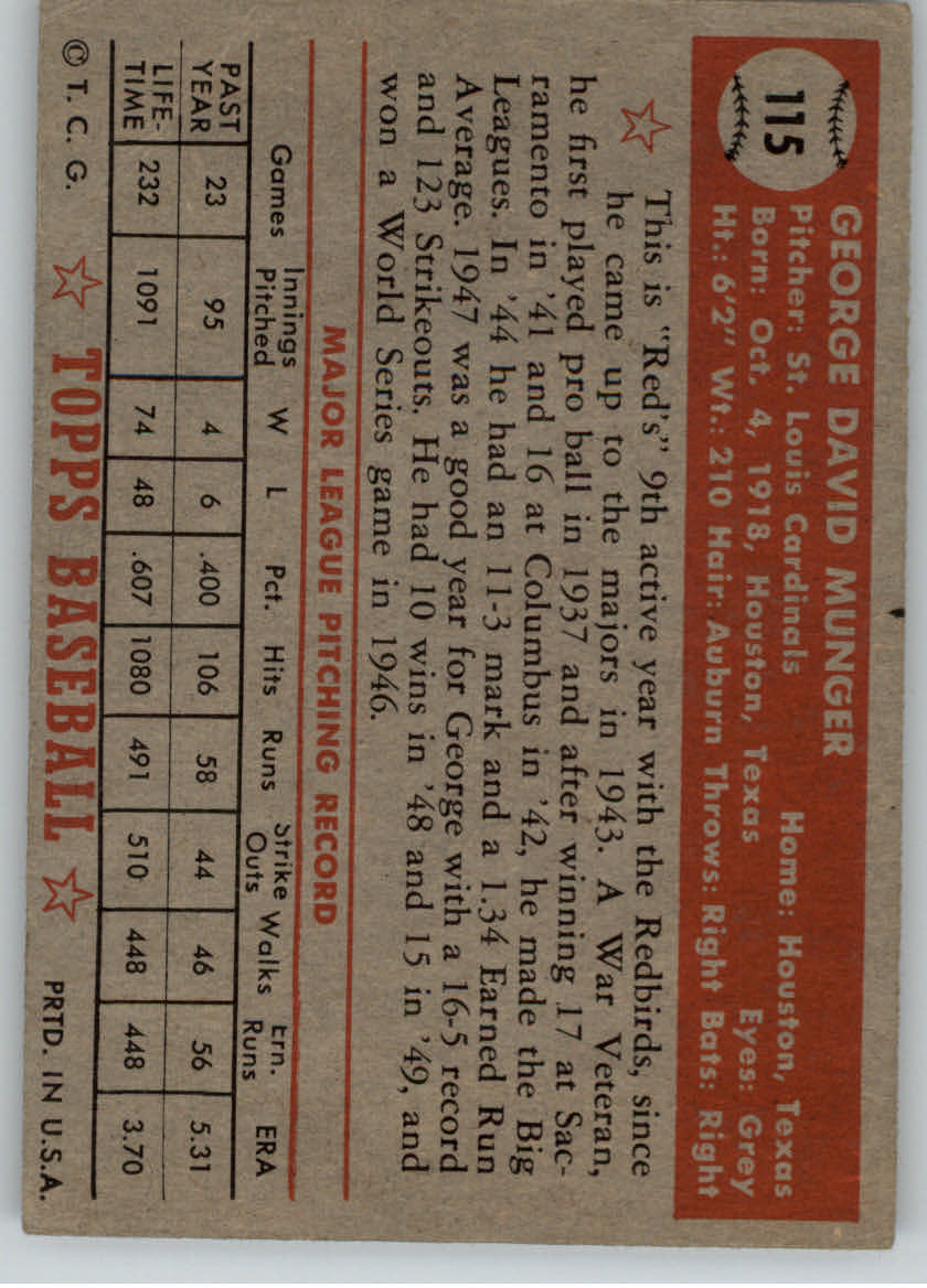1952 Topps #115 George Munger back image