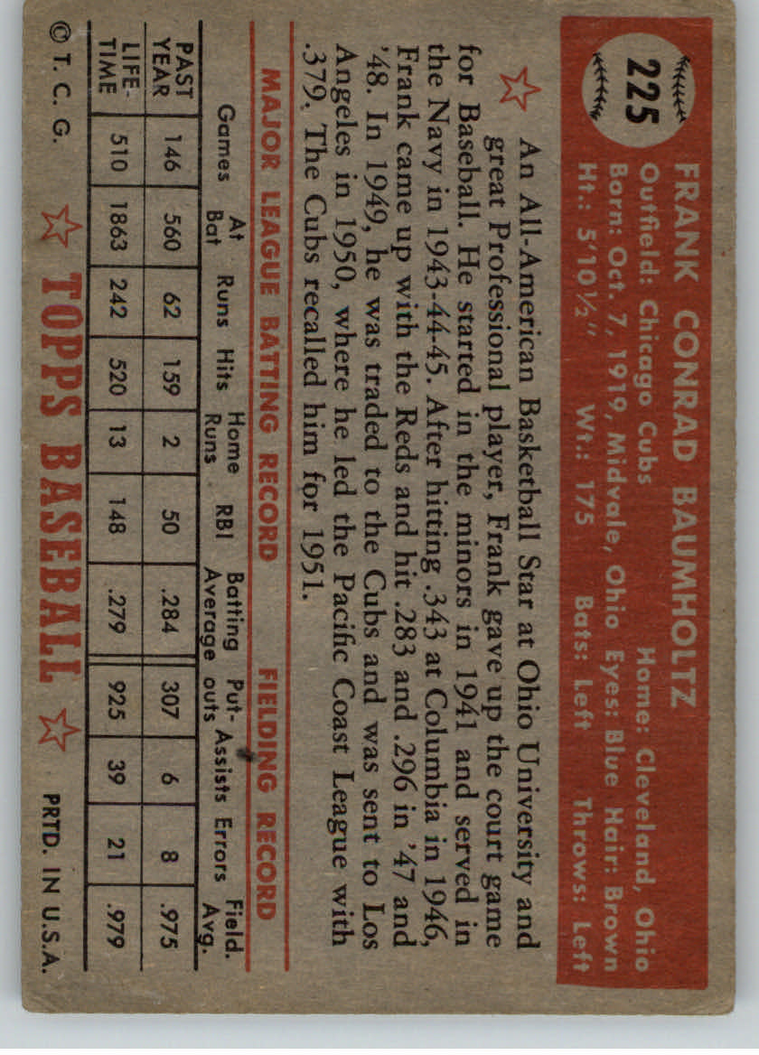 1952 Topps #225 Frank Baumholtz back image