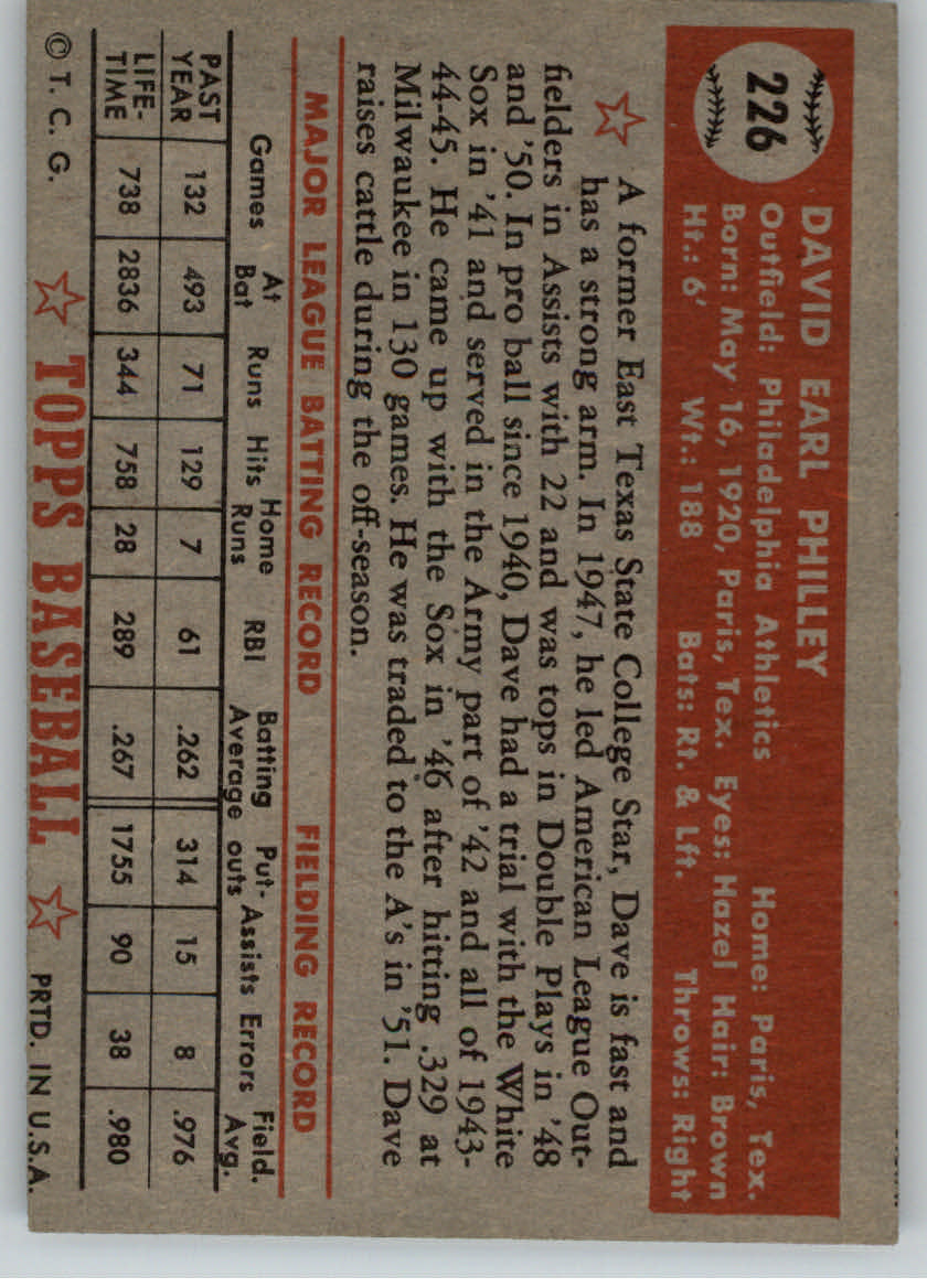 1952 Topps #226 Dave Philley back image