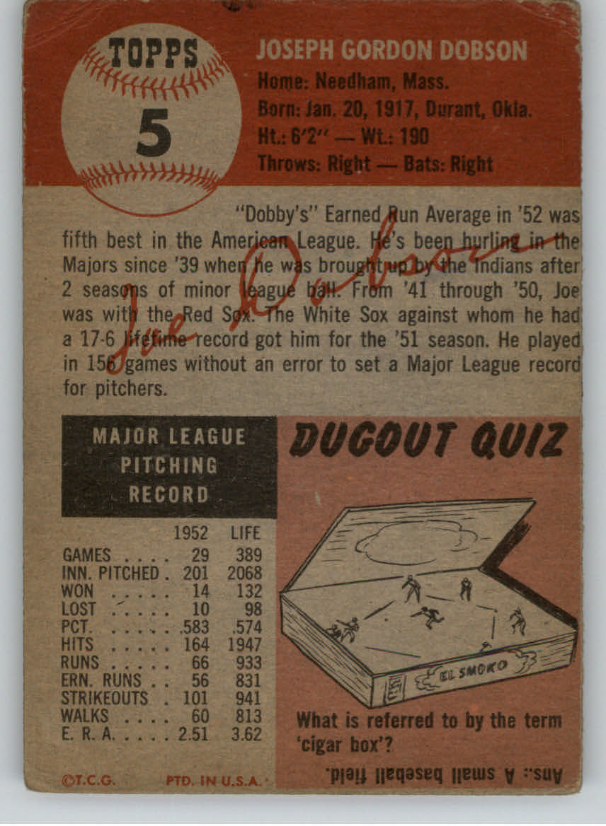 1953 Topps #5 Joe Dobson back image