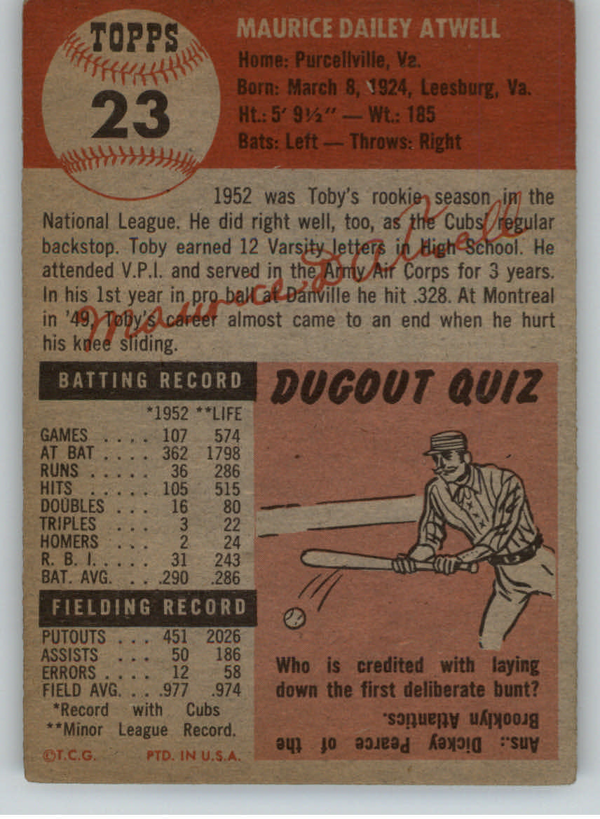 1953 Topps #23 Toby Atwell DP back image