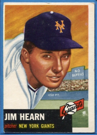 1953 Topps #38 Jim Hearn DP front image