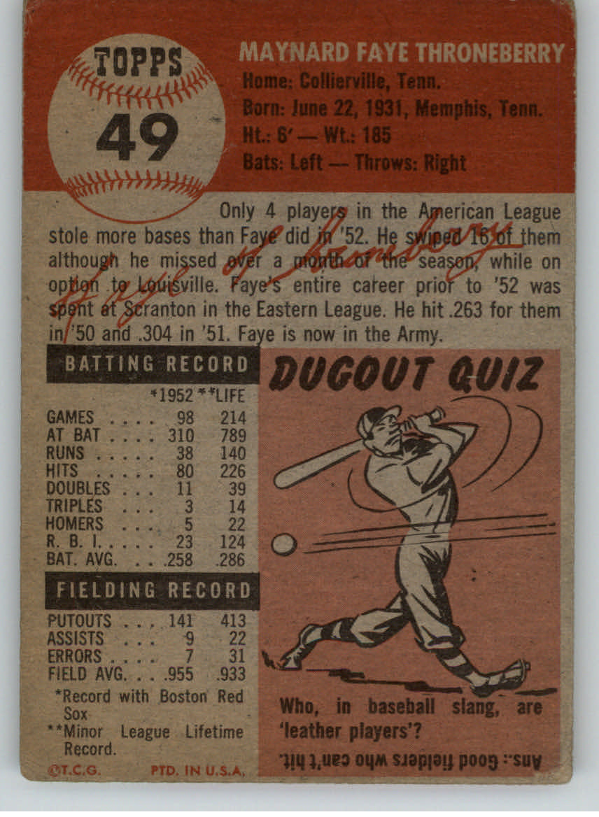 1953 Topps #49 Faye Throneberry DP back image