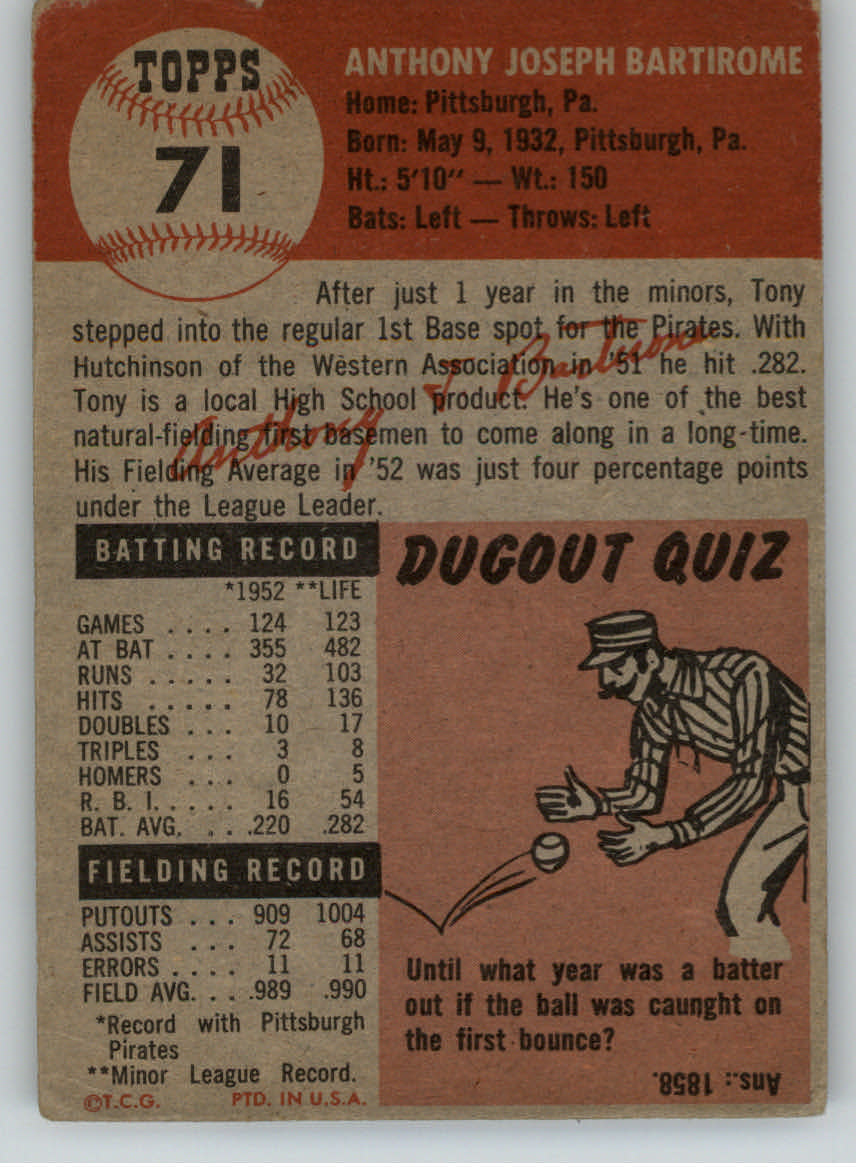 1953 Topps #71 Tony Bartirome back image