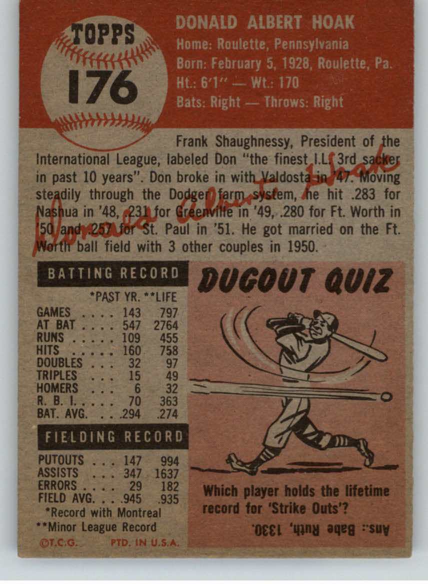 1953 Topps #176 Don Hoak RC back image
