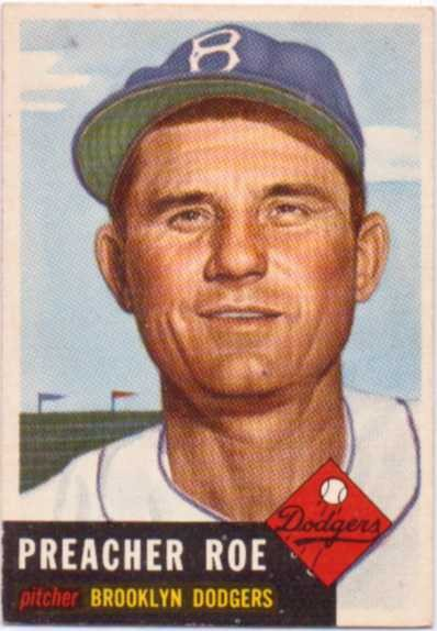 1953 Topps #254 Preacher Roe DP