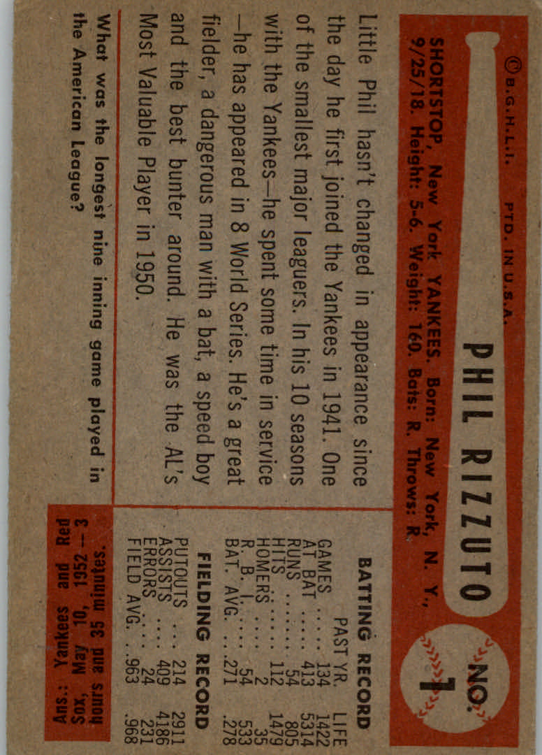 1954 Bowman #1 Phil Rizzuto back image