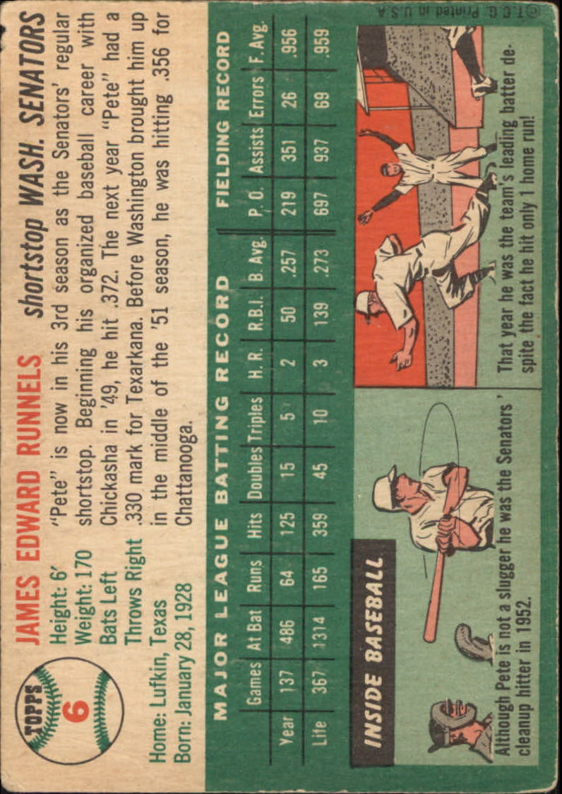 1954 Topps #6 Pete Runnels back image