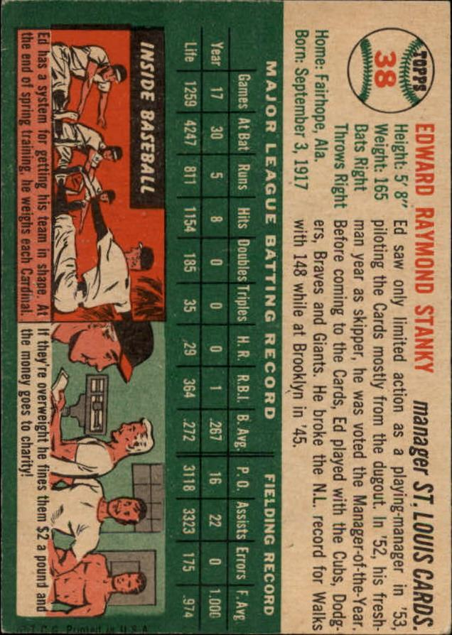 1954 Topps #38 Eddie Stanky MG back image