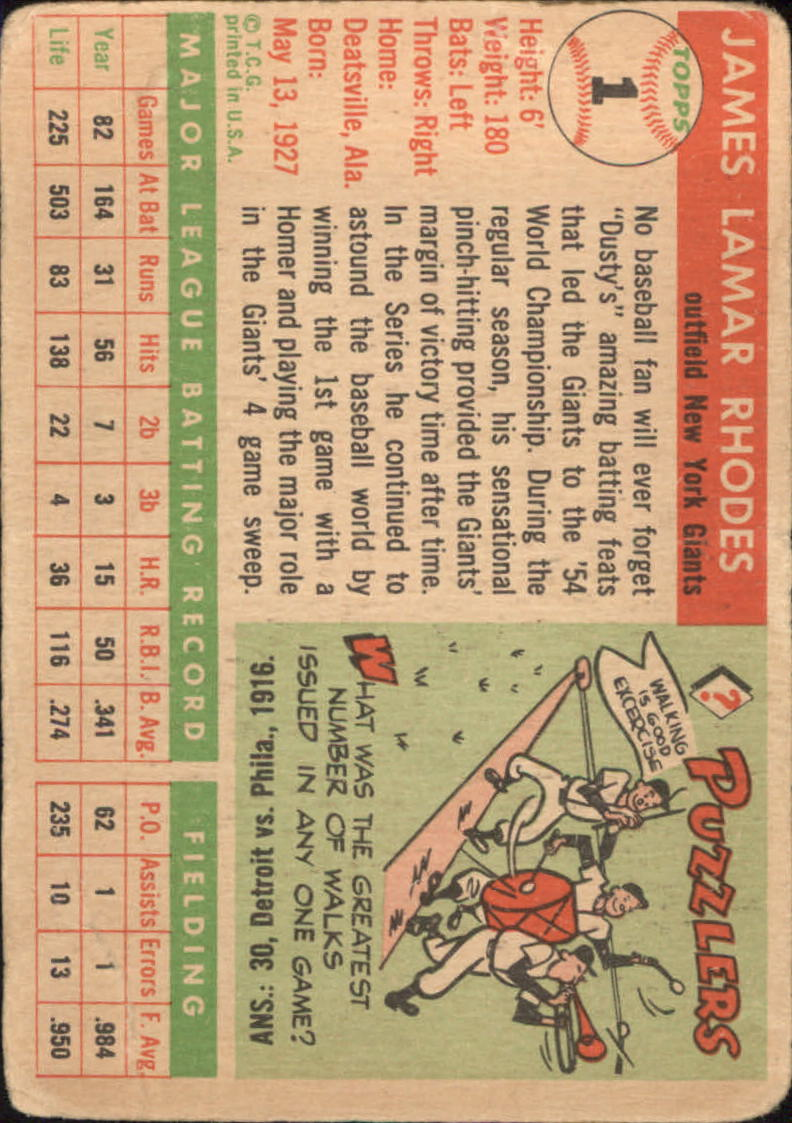 1955 Topps #1 Dusty Rhodes back image