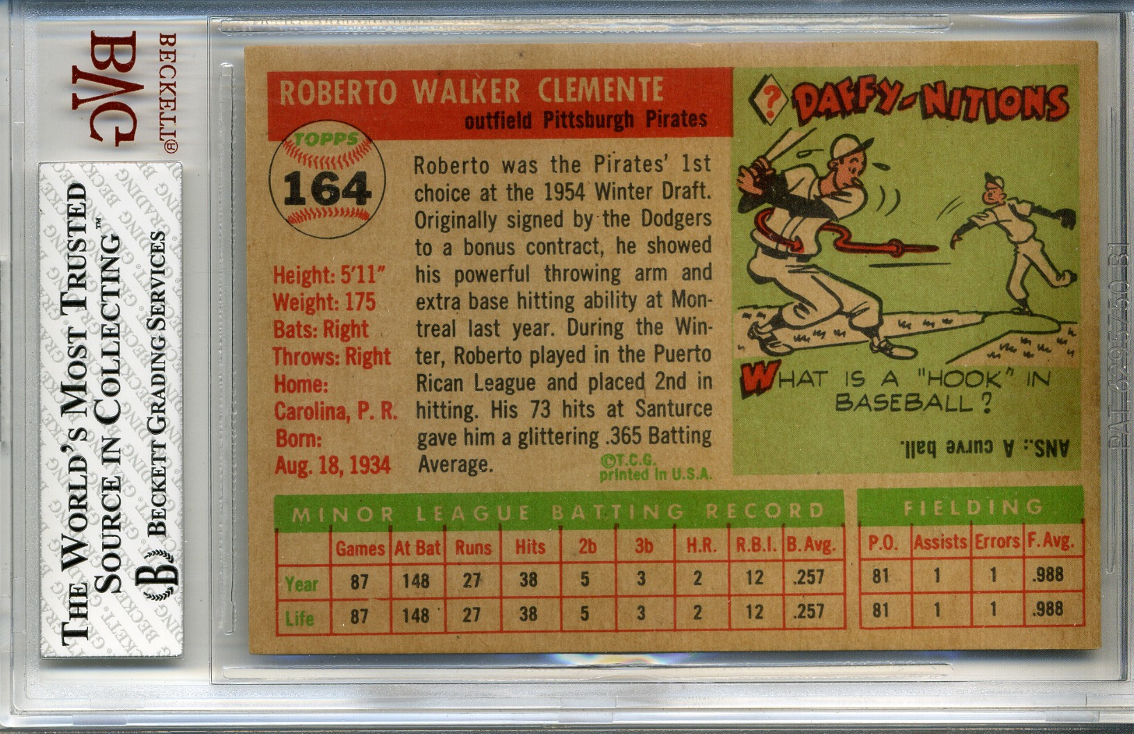 1955 Topps #164 Roberto Clemente RC back image
